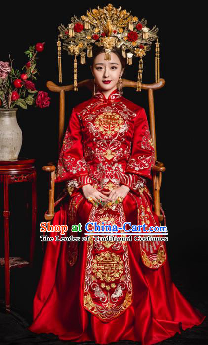 Chinese Traditional Toast Red Xiuhe Suits Ancient Bride Embroidered Bottom Drawer Wedding Costumes for Women