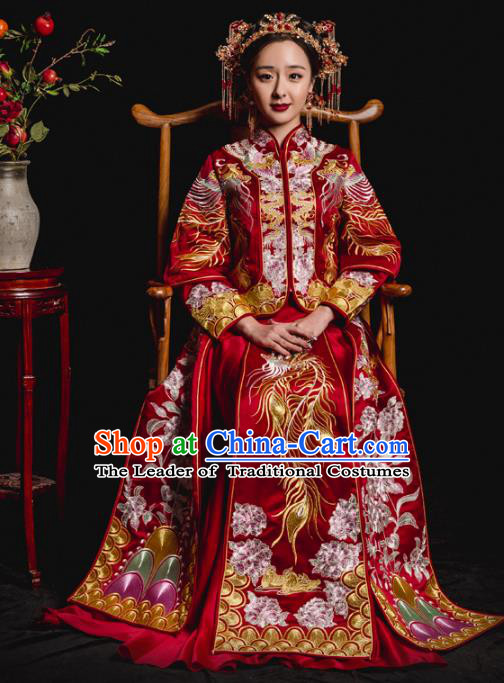 Chinese Traditional Toast Xiuhe Suits Ancient Bride Embroidered Phoenix Bottom Drawer Wedding Costumes for Women