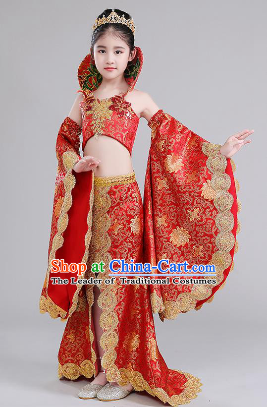 Children Stage Performance Costumes China Style Modern Fancywork Red Full Dress for Kids