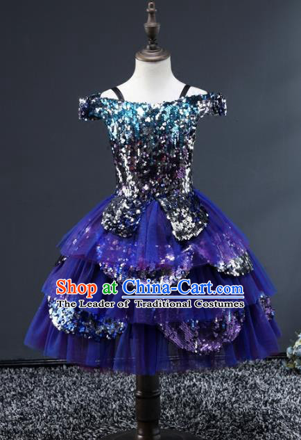 Children Stage Performance Costumes Catwalks Modern Fancywork Blue Bubble Dress for Kids