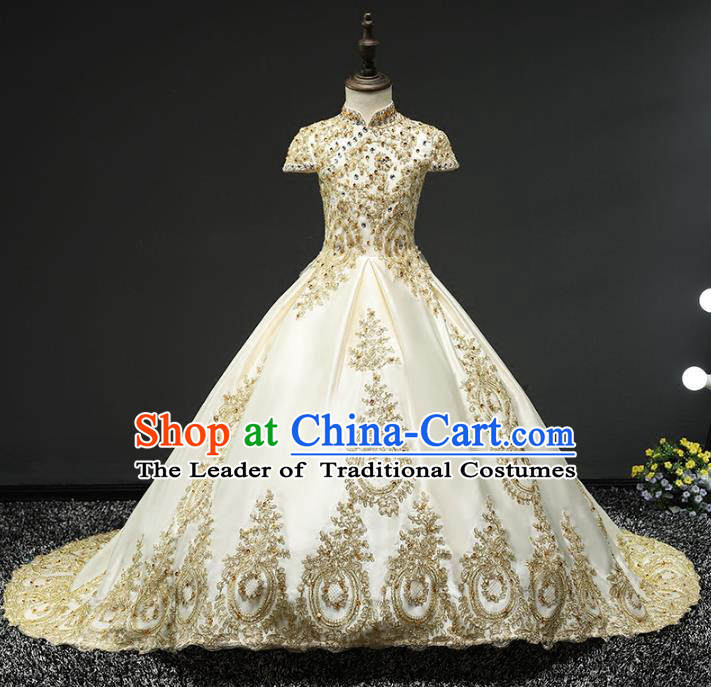 Children Stage Performance Costumes Embroidered Golden Trailing Dress Modern Fancywork Full Dress for Kids