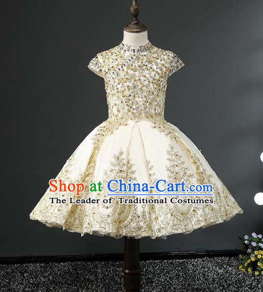 Children Stage Performance Costumes Embroidered Golden Bubble Dress Modern Fancywork Full Dress for Kids