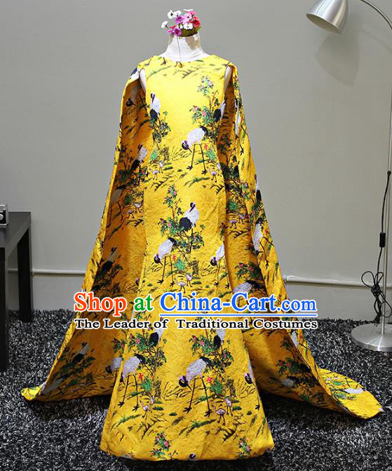Children Stage Performance Costumes Printing Cranes Yellow Dress Modern Fancywork Full Dress for Kids