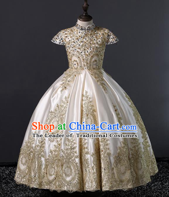 Children Stage Performance Costumes Ballroom Waltz Dance Bubble Dress Modern Fancywork Full Dress for Kids
