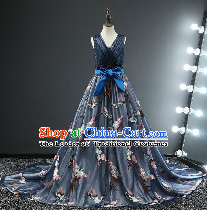 Children Stage Performance Costumes Ballroom Waltz Dance Blue Dress Modern Fancywork Full Dress for Kids