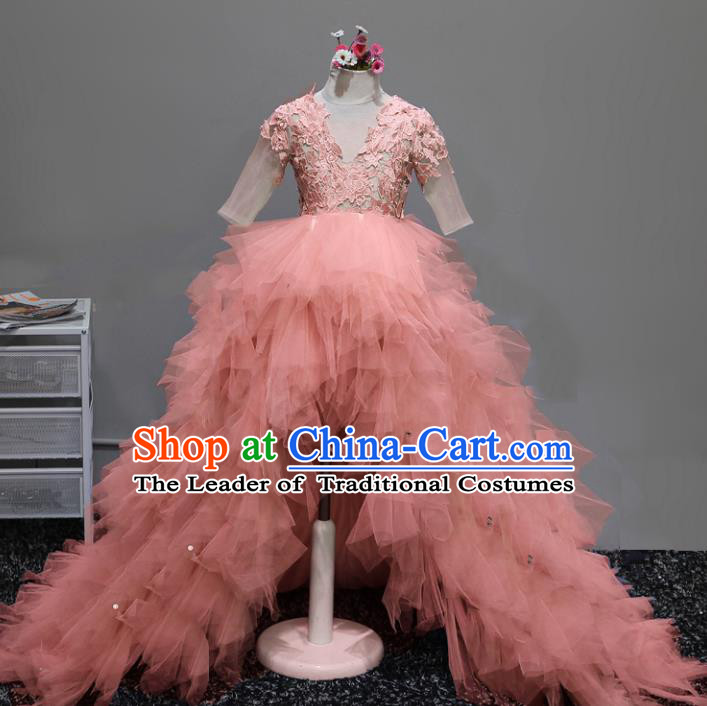 Children Stage Performance Costumes Ballroom Pink Bubble Dress Modern Fancywork Full Dress for Kids