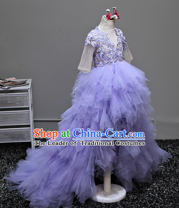 Children Stage Performance Costumes Ballroom Purple Bubble Dress Modern Fancywork Full Dress for Kids