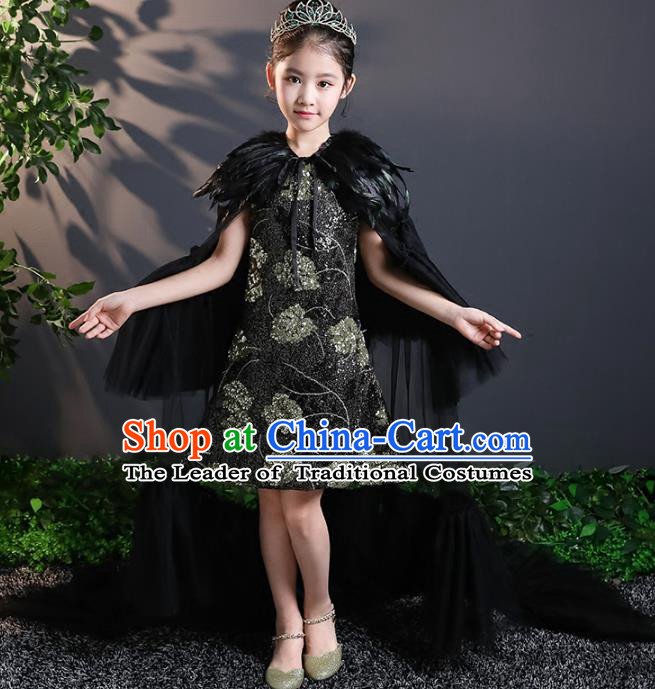 Children Stage Performance Costumes Black Evening Dresses Modern Fancywork Full Dress for Kids