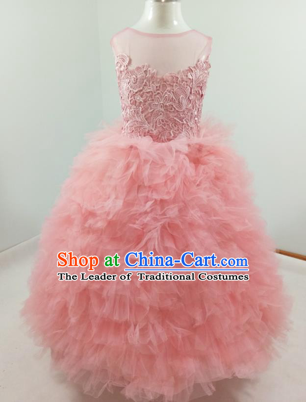 Top Grade Stage Performance Costumes Pink Bubble Evening Dresses Modern Fancywork Full Dress for Women