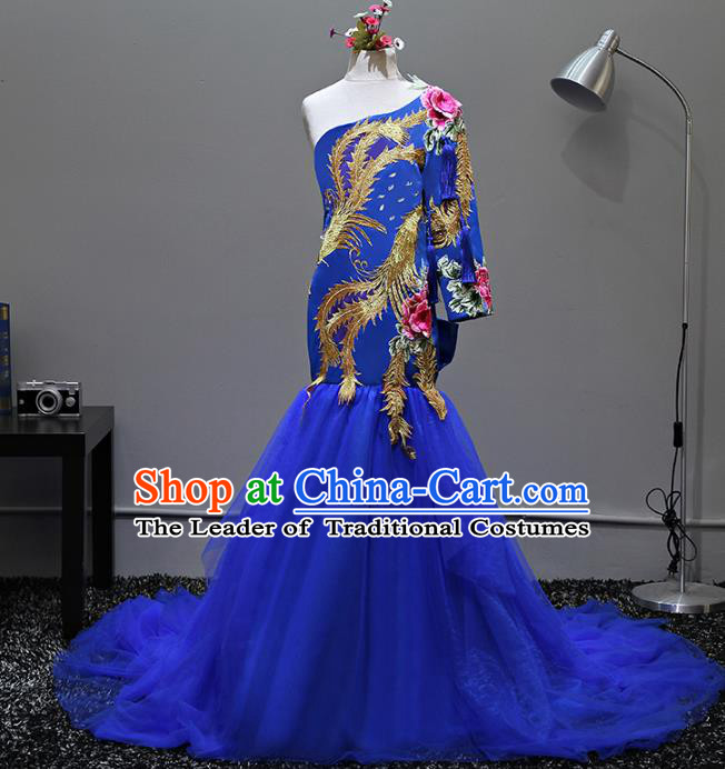 Top Grade Stage Performance Costumes Compere Embroidered Blue Mermaid Dress Modern Fancywork Full Dress for Kids