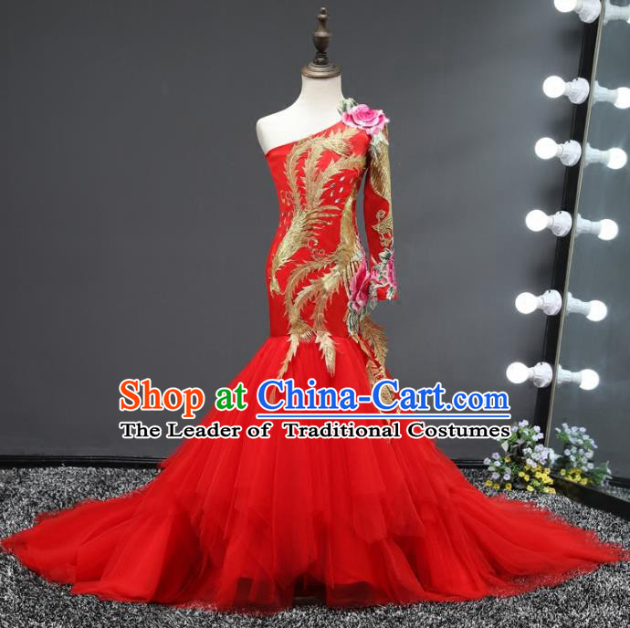 Top Grade Stage Performance Costumes Compere Embroidered Red Mermaid Dress Modern Fancywork Full Dress for Kids