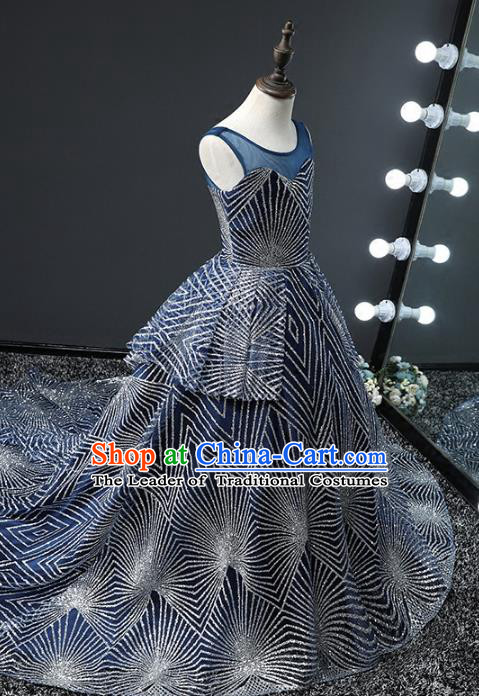 Top Grade Stage Performance Costumes Compere Blue Trailing Dress Modern Fancywork Full Dress for Kids