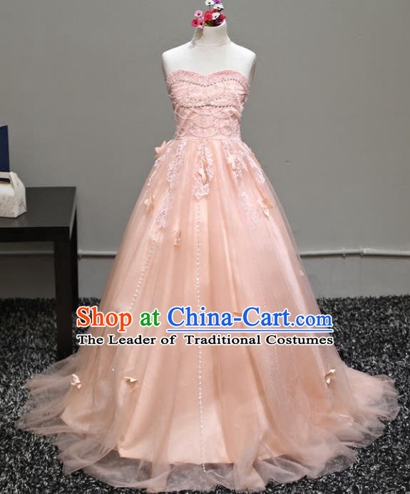 Top Grade Stage Performance Costumes Compere Pink Veil Dress Modern Fancywork Full Dress for Kids