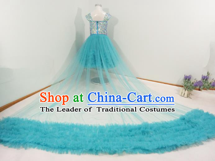 Top Grade Stage Performance Costumes Compere Blue Bubble Dress Modern Fancywork Full Dress for Kids
