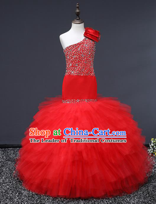 Top Grade Stage Performance Costumes Baroque Princess Red Dress Modern Fancywork Full Dress for Kids