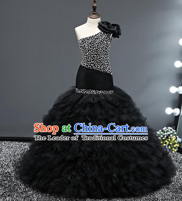 Top Grade Stage Performance Costumes Baroque Princess Black Dress Modern Fancywork Full Dress for Kids