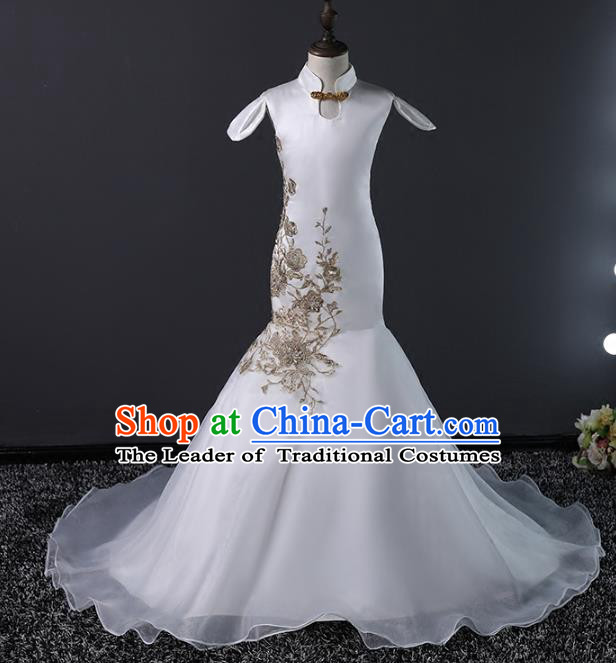 Top Grade Stage Performance Costumes Compere White Trailing Dress Modern Fancywork Full Dress for Kids