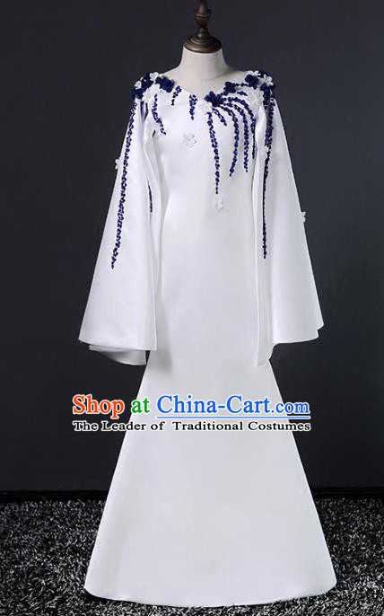 Top Grade Stage Performance Costumes Catwalks White Dress Modern Fancywork Full Dress for Kids