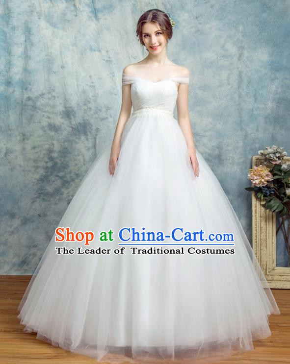 Top Grade Advanced Customization Wedding Dress White Bridal Veil Full Dress Costume for Women