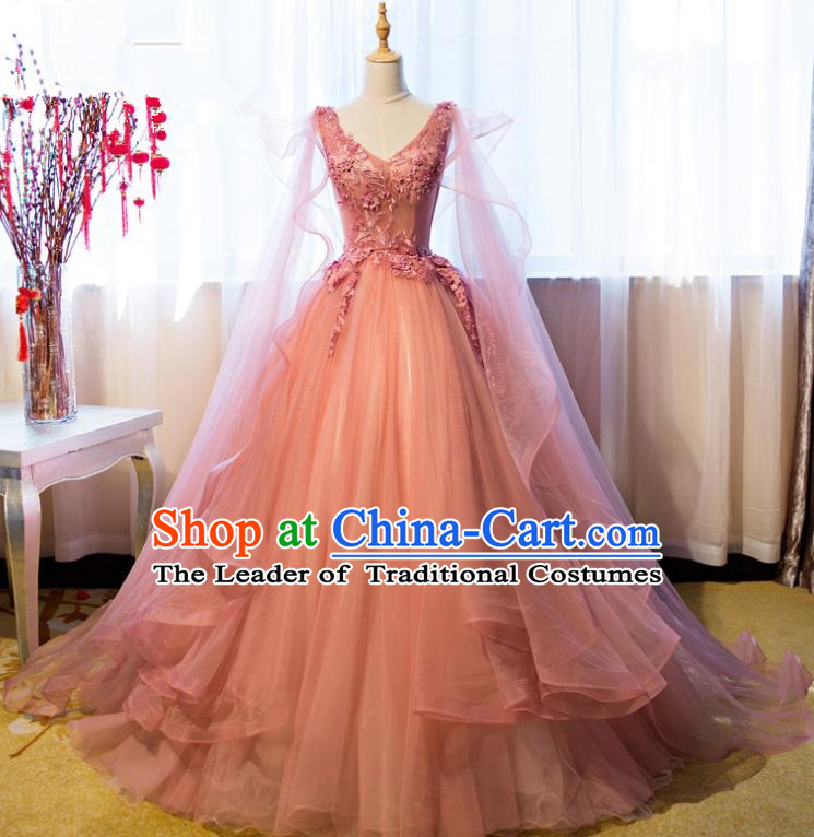 Top Grade Advanced Customization Wedding Dress Pink Bridal Veil Full Dress Costume for Women