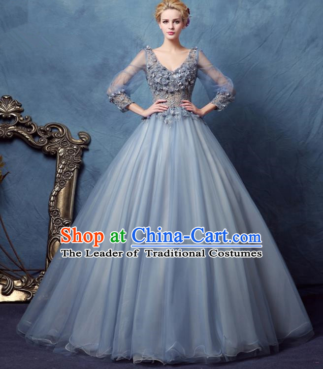 Top Grade Advanced Customization Wedding Dress Blue Bridal Veil Full Dress Costume for Women