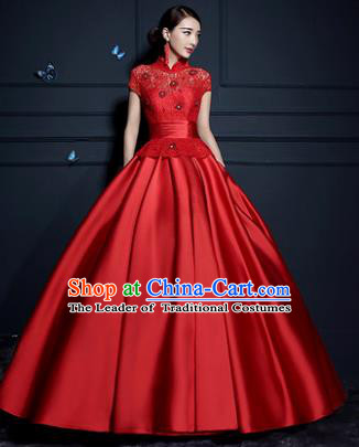 Top Grade Advanced Customization Wedding Dress Red Satin Bridal Full Dress Costume for Women