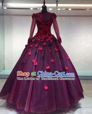 Top Grade Advanced Customization Wedding Dress Princess Dress Purple Bridal Veil Full Dress Costume for Women