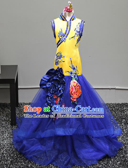 Top Grade Stage Performance Costumes Catwalks Cheongsam Blue Veil Dress Modern Fancywork Full Dress for Kids