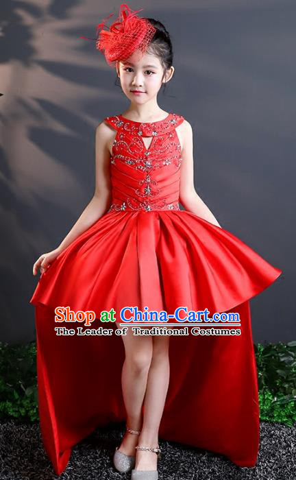 Top Grade Stage Performance Costumes Catwalks Red Trailing Dress Modern Fancywork Full Dress for Kids