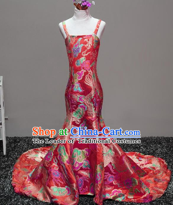 Top Grade Stage Performance Costumes Catwalks Red Brocade Trailing Dress Modern Fancywork Full Dress for Kids