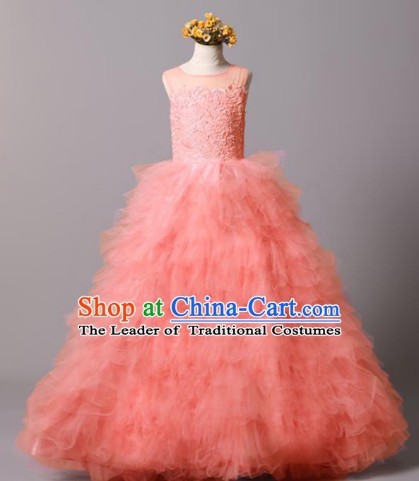 Top Grade Stage Performance Costumes Catwalks Pink Bubble Dress Modern Fancywork Full Dress for Kids