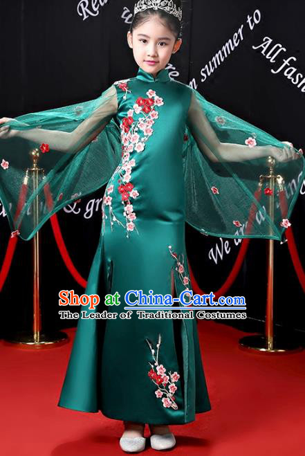 Top Grade Stage Performance Costumes Compere Green Cheongsam Modern Fancywork Full Dress for Kids