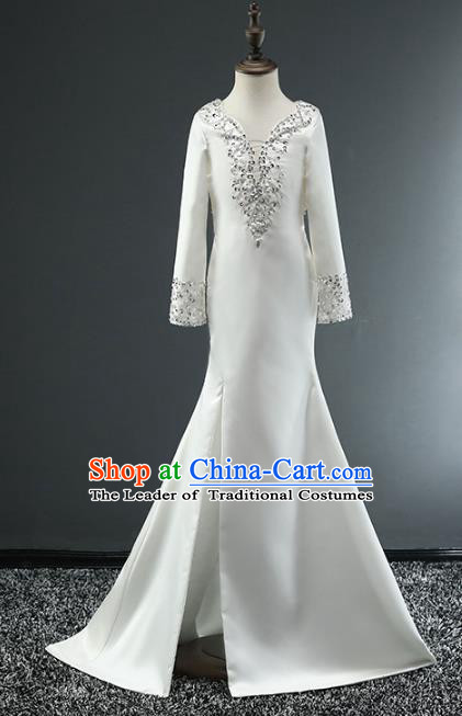 Top Grade Stage Performance Costumes Catwalks White Satin Dress Modern Fancywork Full Dress for Kids