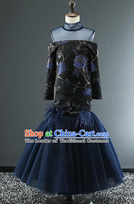 Top Grade Stage Performance Costumes Catwalks Off Shoulder Dress Modern Fancywork Full Dress for Kids