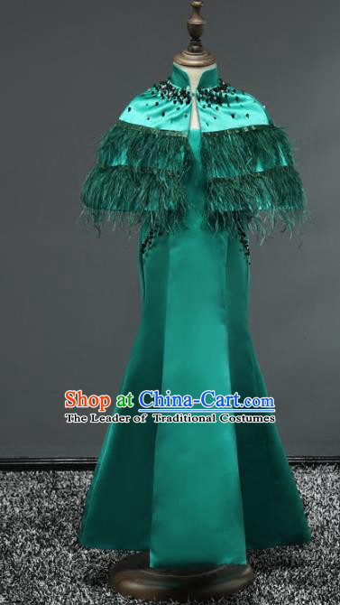 Top Grade Stage Performance Costumes Children Catwalks Green Dress Modern Fancywork Full Dress for Kids