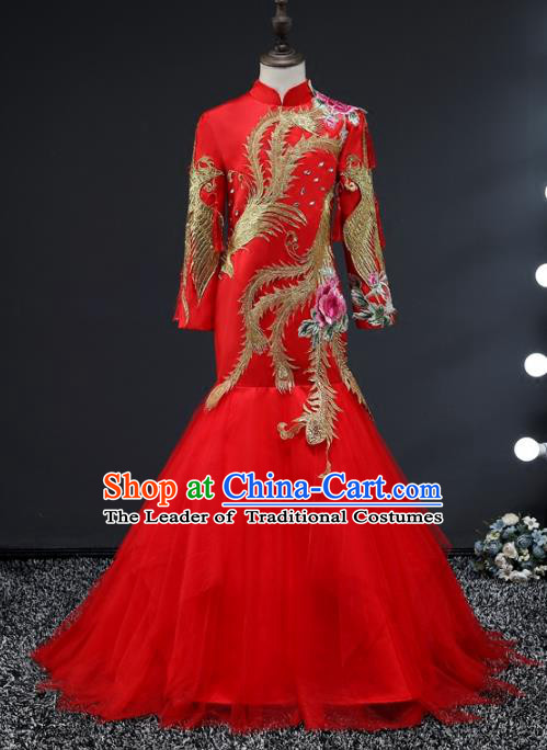 Top Grade Compere Stage Performance Costumes Children Catwalks Red Cheongsam Modern Fancywork Full Dress for Kids