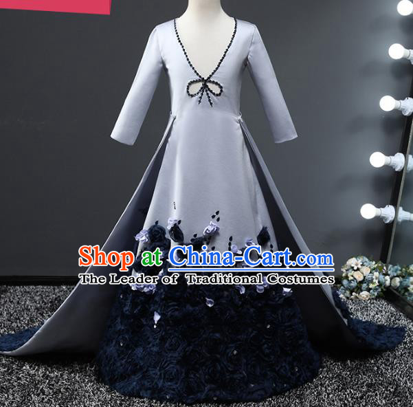 Top Grade Compere Stage Performance Costumes Children Catwalks Grey Trailing Dress Modern Fancywork Full Dress for Kids