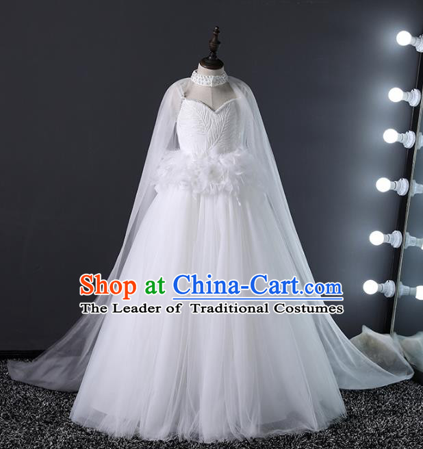 Top Grade Compere Costumes Children White Veil Mullet Dress Modern Fancywork Full Dress for Kids
