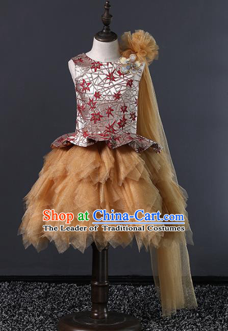 Top Grade Compere Costumes Children Brown Veil Bubble Dress Modern Fancywork Full Dress for Kids