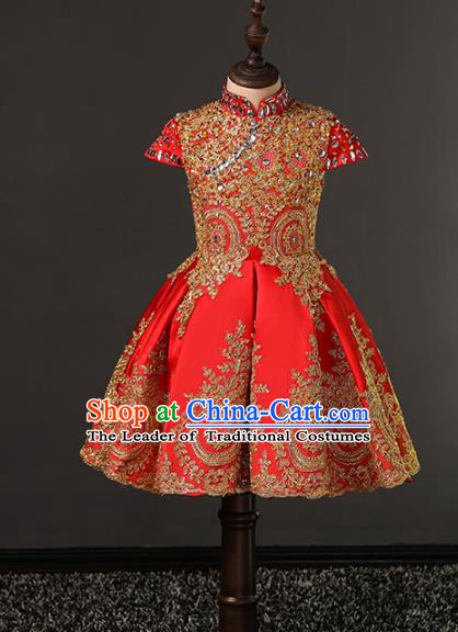 Top Grade Compere Costumes Children Red Embroidered Dress Modern Fancywork Full Dress for Kids