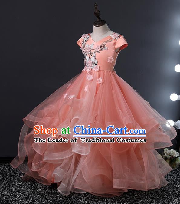 Top Grade Compere Costumes Children Bubble Dress Princess Dress Modern Fancywork Full Dress for Kids