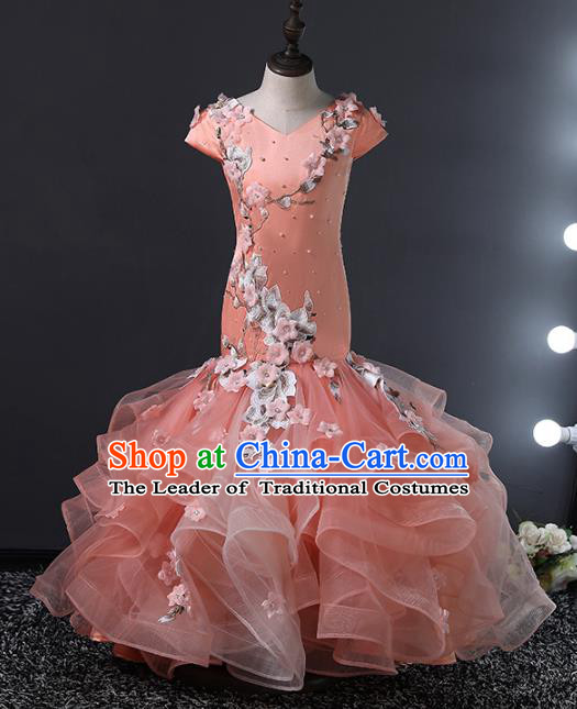 Top Grade Compere Costumes Children Embroidered Fishtail Dress Princess Dress Modern Fancywork Full Dress for Kids