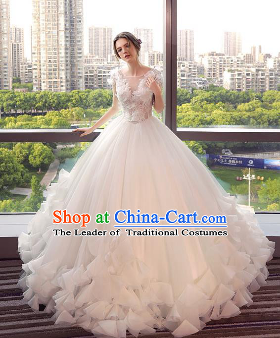 Top Grade Advanced Customization Wedding Dress Bridal Veil Wedding Gown Costume for Women