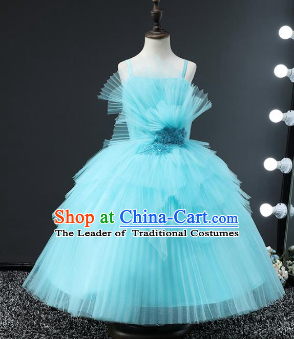 Top Grade Compere Stage Performance Costumes Children Catwalks Blue Bubble Dress Modern Fancywork Full Dress for Kids