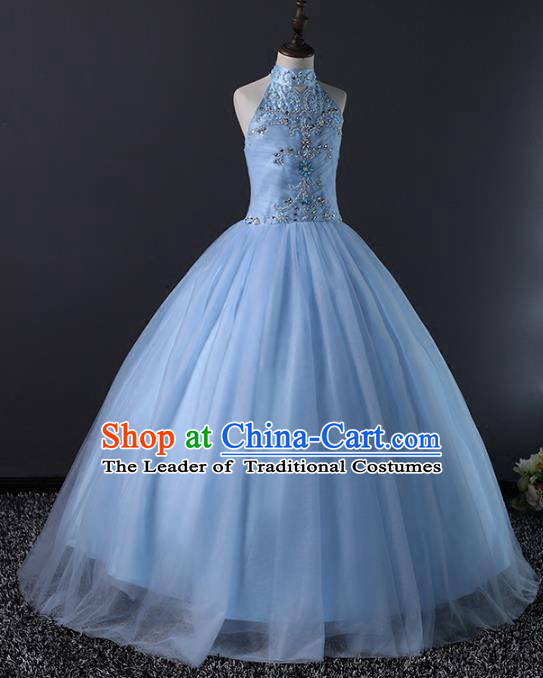 Top Grade Compere Costumes Children Stage Performance Catwalks Blue Bubble Dress Modern Fancywork Full Dress for Kids