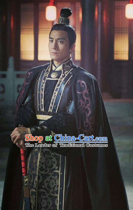 Chinese Ancient Tang Dynasty General Military Officer Embroidered Costumes for Men