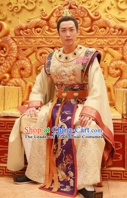 Chinese Ancient Tang Dynasty Imperial Emperor Lung-Chi Lee Dragon Robe Embroidered Costumes for Men