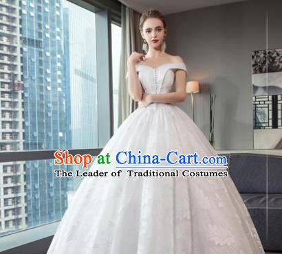 Top Grade Advanced Customization White Lace Bubble Dress Wedding Dress Compere Bridal Full Dress for Women