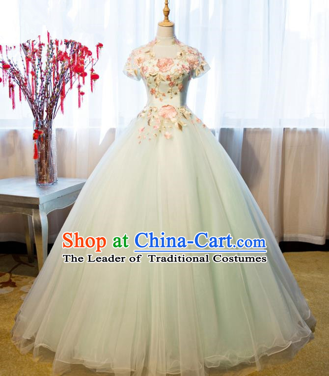 Top Grade Advanced Customization Embroidered Green Dress Wedding Dress Compere Bridal Full Dress for Women