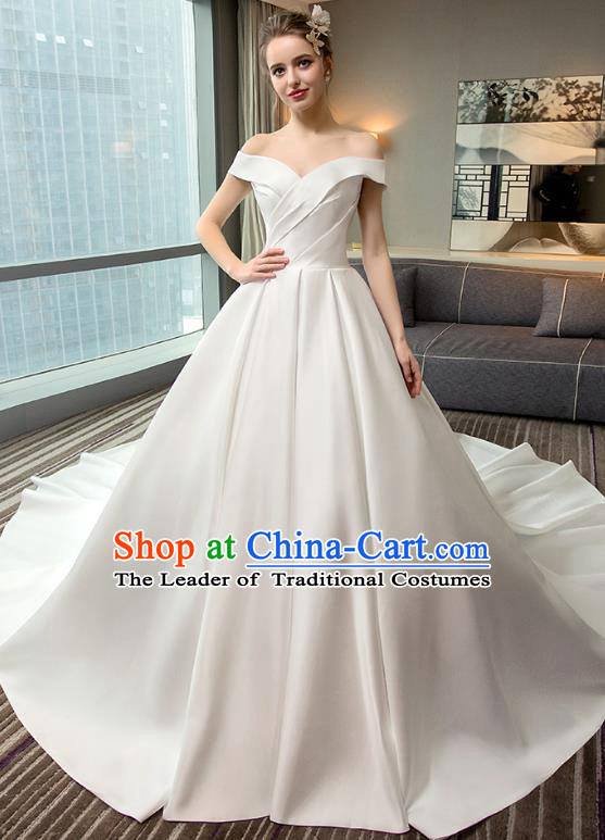 Top Grade Advanced Customization White Mullet Dress Wedding Dress Compere Bridal Full Dress for Women